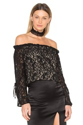 J.O.A. Lace Off The Shoulder Top Black