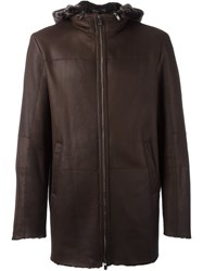 Drome Hooded Mid Length Coat Brown