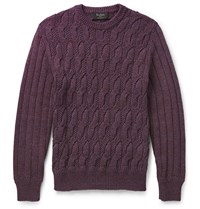 Berluti Cable Knit Ma Lange Cotton Sweater Purple