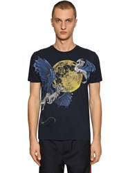 Etro Hand Painted Cotton Jersey T Shirt Blue