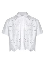 Red Valentino Sangallo Cropped Cotton Shirt White