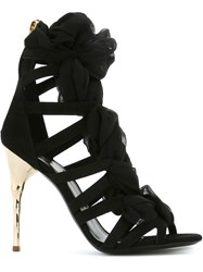 Balmain Sheer Strapping Sandals Black
