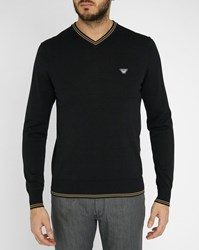 Armani Jeans Black Aj Logo V Neck Sweater