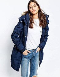 Ichi Parka With Faux Fur Hood In Blue Ombre Blue