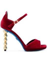 Loriblu Carved Heel Sandals Leather Velvet Rubber Red