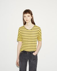 Etoile Isabel Marant Andreia Striped Linen Tee Light Yellow