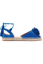 Aquazzura Sunshine Pompom Embellished Espadrilles Bright Blue