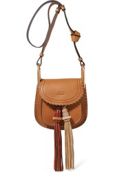 Chloe Hudson Mini Whipstitched Leather Shoulder Bag Brown