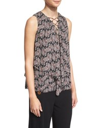Derek Lam Sleeveless Floral Silk Lace Up Top Black Multicolor