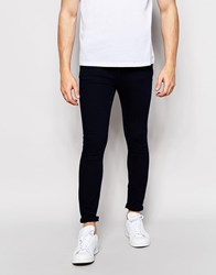 Pull And Bear Super Skinny Jeans In Indigo Dark Blue