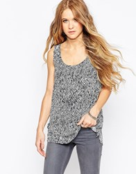 Only Sleeveless Scratchy Zig Zag Print Top Black