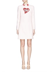 Valentino 'L'amour' Heart Motif Beaded Collar Dress Neutral