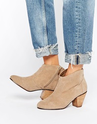 Daisy Street Taupe Western Style Heeled Boots