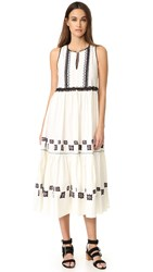Suno Cotton Leaf Maxi Dress Off White