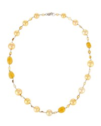 Belpearl 18K Golden South Sea Pearl Necklace W Citrine And Yellow Beryl