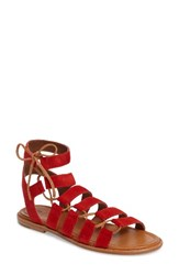 Frye Women's Blair Ghillie Sandal Red