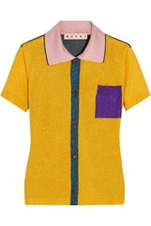 Marni Color Block Metallic Knitted Polo Shirt