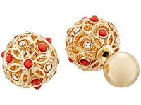 Guess Ball Front Back Earrings Gold Crystal Coral Earring
