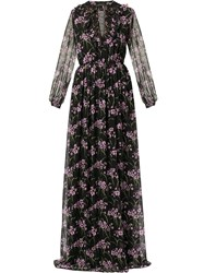 Giambattista Valli Floral Flared Maxi Dress Black