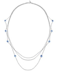 T Tahari Silver Tone Light Sapphire Stone Long Multi Layer Necklace