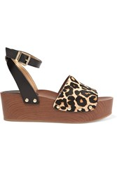 Sam Edelman Brynn Leopard Print Calf Hair And Leather Wedge Sandals
