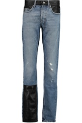 Mcq By Alexander Mcqueen Faux Leather Paneled High Rise Slim Leg Jeans Blue