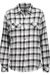 Current Elliott The Perfect Frayed Cotton Blend Flannel Shirt White