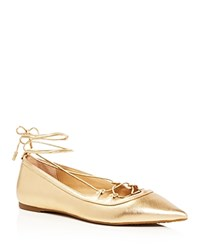 Michael Michael Kors Tabby Metallic Lace Up Pointed Toe Ballet Flats Pale Gold