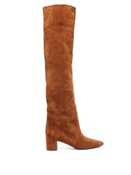 Saint Laurent Lou Suede Over The Knee Boots Tan