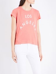 Wildfox Couture Los Angeles Flocked Print Cotton Jersey T Shirt Pigment Inferno Red