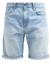 Carhartt Wip Davies Denim Shorts Blue Burst Washed Bleached Denim
