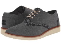 Toms Brogue Black Chambray Floral Men's Lace Up Casual Shoes Gray