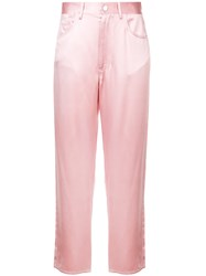 Fleur Du Mal Cropped Fitted Trousers Pink And Purple