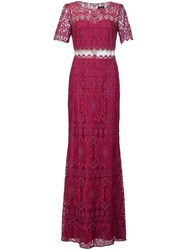Marchesa Notte Lace Floor Length Gown Pink And Purple