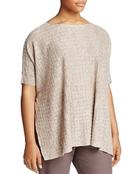 Eileen Fisher Plus Bateau Neck Grid Sweater Natural