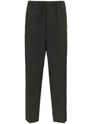 Jil Sander Tailored And Elasticated Cropped Trousers Grey
