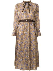 Loveless Floral Print Shirt Dress Brown