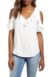 Billy T Ruffled Cold Shoulder Top White