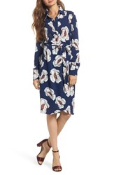 Charles Henry Floral Shirtdress Navy Floral