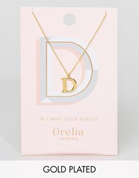 Orelia Gold Plated Large D Initial Necklace Gold