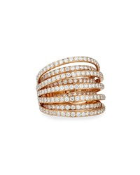 18K Rose Gold Multi Row Diamond Ring Bessa