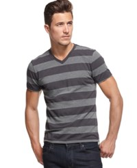 Alfani Men's Striped Slim Fit V Neck T Shirt Only At Macy's Deep Black Combo