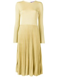 Ralph Lauren Collection Lurex Knit Pleated Dress Gold