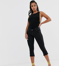 Asos Design Petite Whitby Low Rise Cropped Skinny Jeans In Washed Black