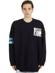 Raf Simons Oversize Wool Knit Sweater W Patches Navy
