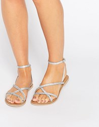 Faith Jambo Embellished Flat Sandals Silver