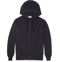 John Smedley Reservoir Merino Wool Zip Up Hoodie Midnight Blue