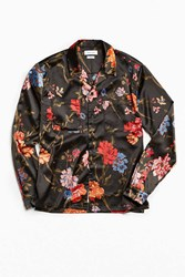 Urban Outfitters Uo Satin Floral Button Down Shirt Black