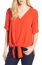 Chaus Tie Front Split Sleeve Blouse Firewater