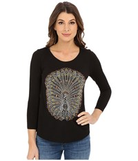 Lucky Brand Embelished Peacock Tee Lucky Black Women's T Shirt Multi